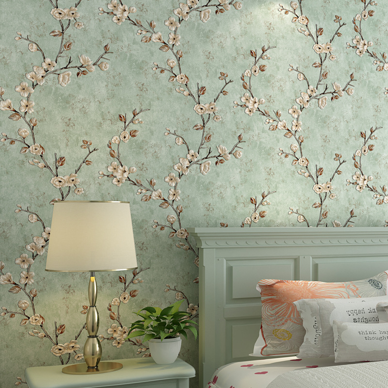 American-Style Living Room Bedroom TV Backdrop Wall 3D Wallpaper Hotel Stores Hotel Pastoral Style Small Flower Vine Wallpaper