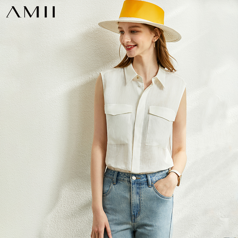 AMII Minimalism Spring Summer Vest Shirt Women Causal Lapel Sleeveless Single-breasted Female Blouse 12070186
