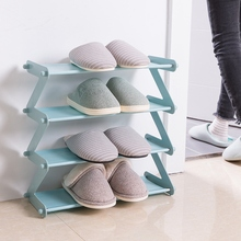 Storage shoe Bookcase Stackable Rack Unit 4-Layer Stainless steel Z-Shaped Shoe