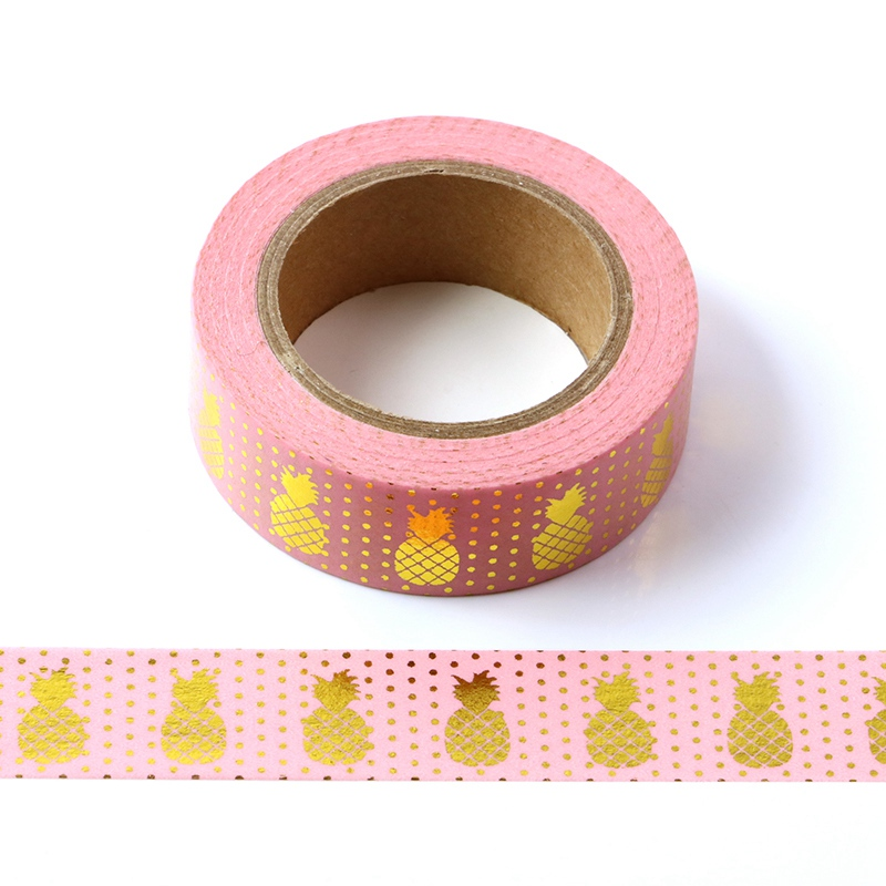 10M Decorative Gold Foil Washi Tape Pink Pineapple DIY Scrapbooking Sticker Label Japanese Masking Tape School Office Supply