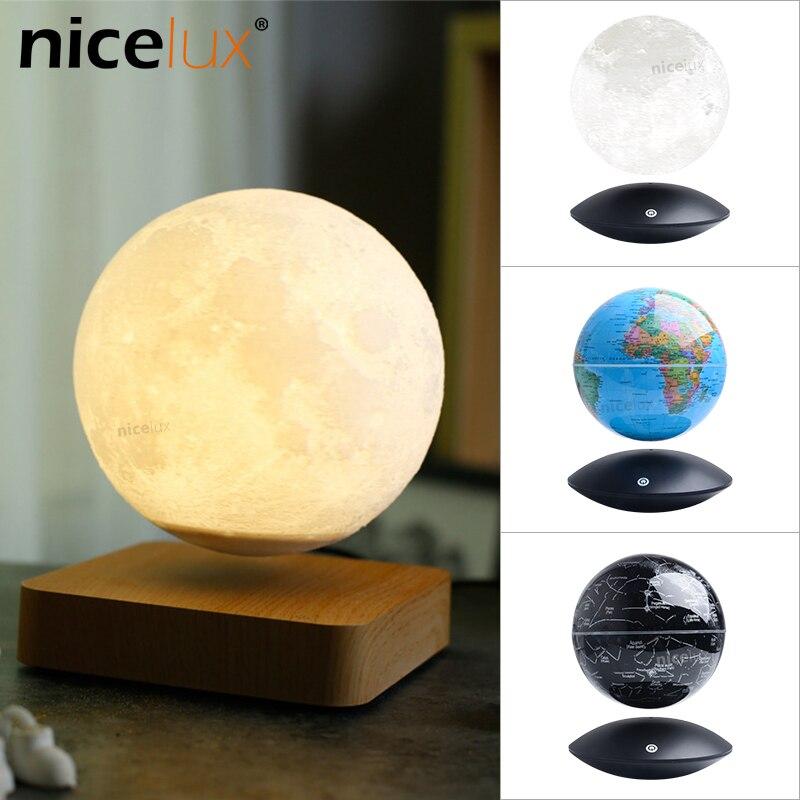 3D Магнитная левитирующая луна лампа Ночной светильник Вращающийся беспроводной светодиодный Глобус Созвездие шар светильник плавающая ла