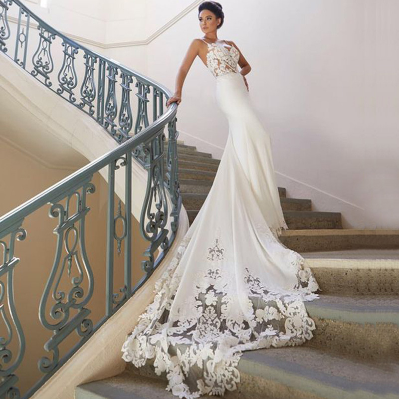 Popodion Lace Wedding Dress Mermaid Satin Wedding Gowns Strapless Sling Bride Dresses WED90548