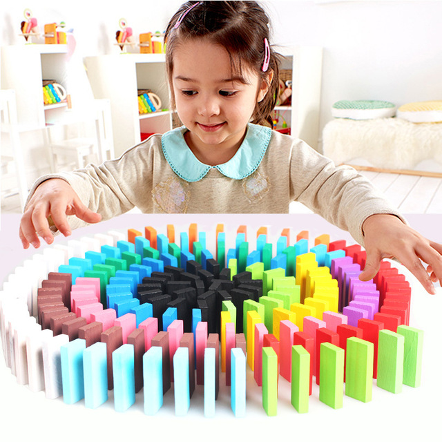 120pcs/set Kids Wooden Toy 12 Color Domino Game Building Blocks Interactive Game Baby Learning Educational Toys for Children Boy