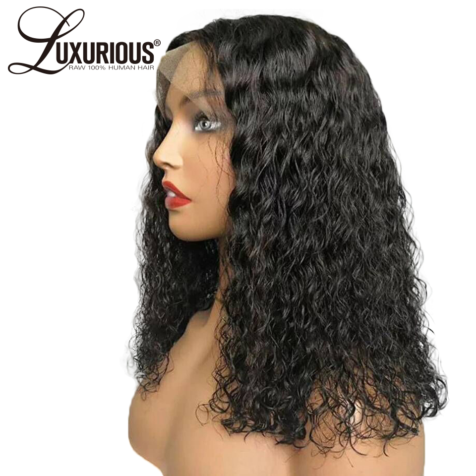 Curly 360 Lace Frontal Wig Pre Plucked With Baby Hair Peruvian Remy Human Hair Wigs Natural Black Color Bleached Knots