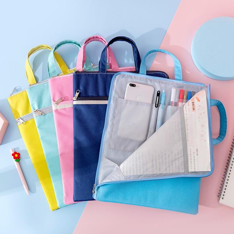 Yisuremia Multi-Function Canvas Bag Fabric File Folder Documents Bag Notebook Storage Organizer Handbag Office School Supplies