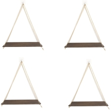 Shelves Hanging Floating-Wall Wood Bedrooms Living-Room for Brown Rustic Set-Of-4