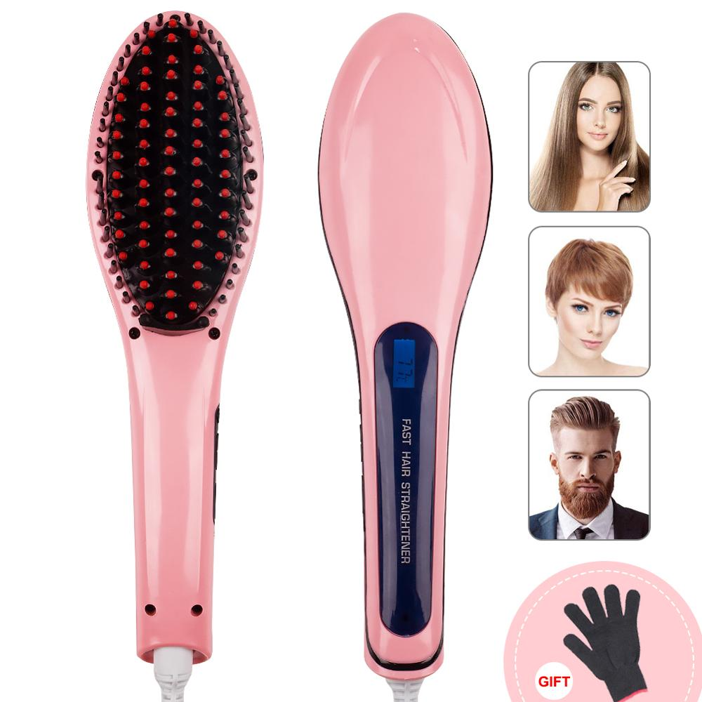 Electric Hair Straightening Brush Hair Straightener Comb Ionic Hair Brush Irons Hairbrush LCD Styling Comb Heating Comb