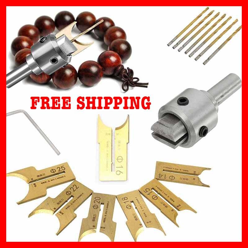 16Pcs Wooden Buddha Bead Maker Cutter Kits Tool Set Beads Drill Bit Milling