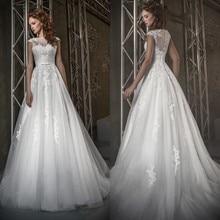 Wholesale vestido de noiva robe de mariee Cap Sleeve sleeveless Lace Appliqued bridal gown 2018
