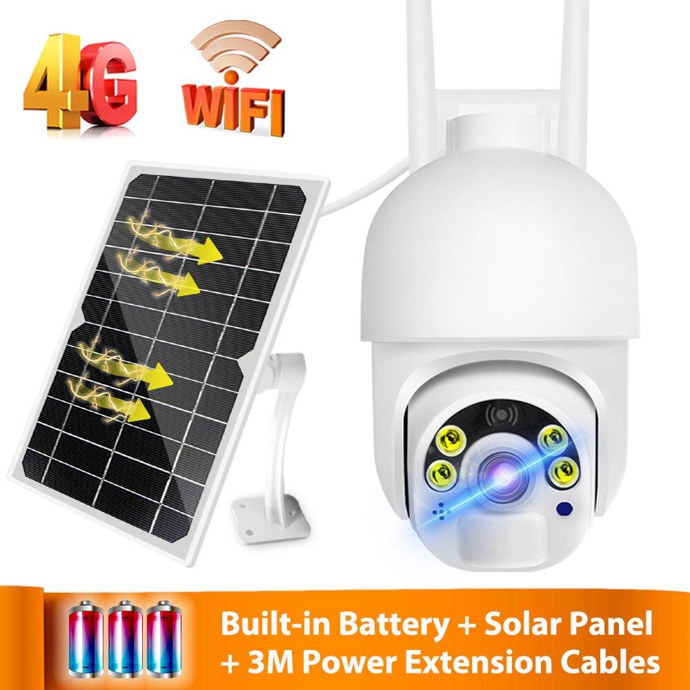 4G karty SIM bezprzewodowa kamera IP 1080P słonecznego PTZ kamera WIFI wbudowany akumulator baterii na zewnątrz ulicy wideo nadzoru CCTV
