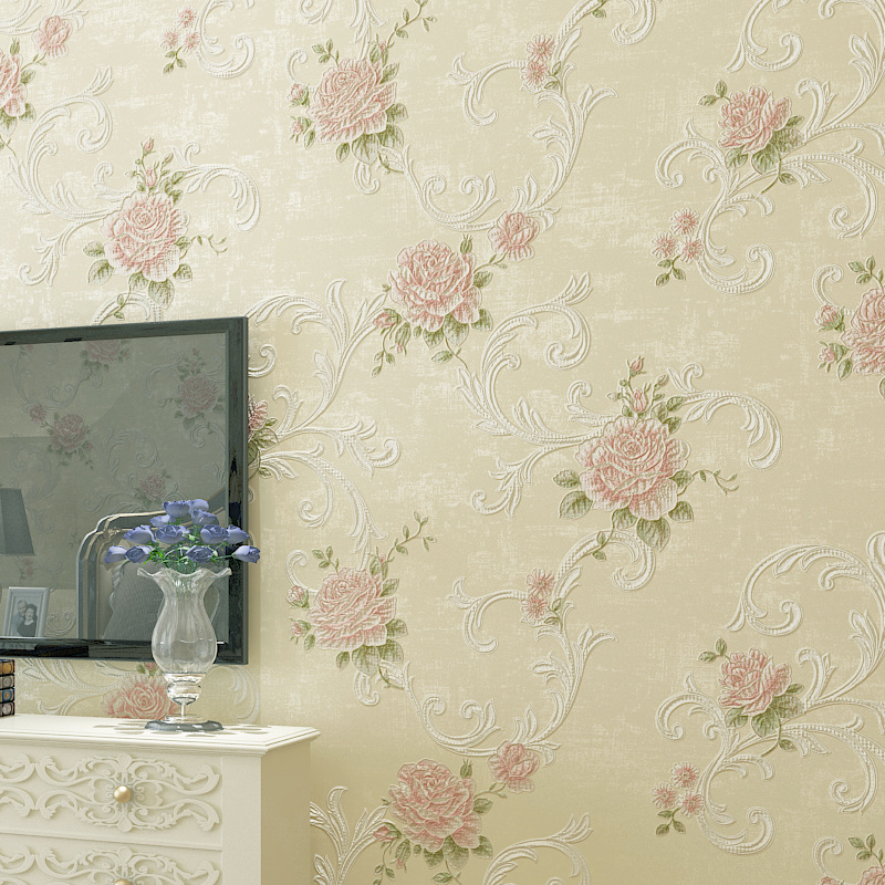 European Countryside Warm 3D Coining Non-woven Wallpaper Living Room Restaurant Bedroom Marriage House TV Background Wallpaper