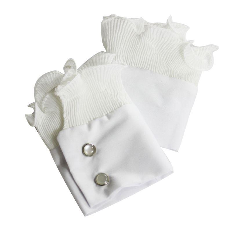 1Pair Wrinkled Flare Fake Sleeve Soft Chiffon False Wrist Cuffs With Buttons LX9E