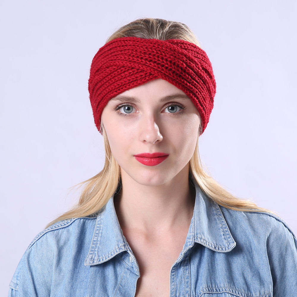 2019 Winter Warmer Ear Knitted Headband Turban For Women Crochet Bow Wide Stretch Solid Hairband Headwrap Hair Accessories