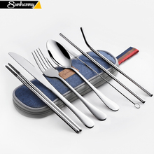 цена на Stainless steel travel meal is a set of 304 stainless steel knife fork spoon chopsticks straw rainbow tableware and bag set