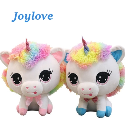 JOYLOVE 1pc 35cm Colorful Big Head Unicorn Plush Toys Cute Unicorn Couples Stuffed Kawaii Soft Dolls For Girls Valentine Gift