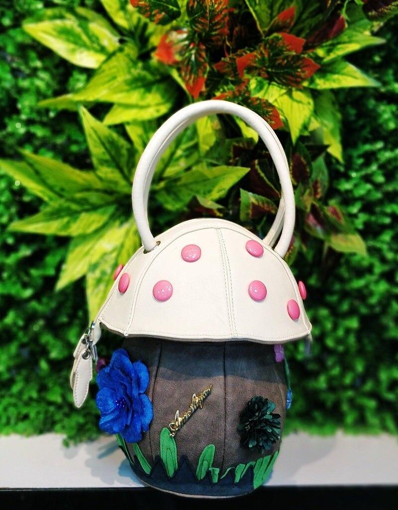 2020 nouveau sac à main de haute qualité à la main sac en cuir personnalité coloré champignon sac à main femme fleur sac dame embrayage