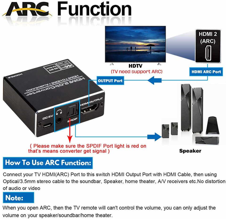 Navceker 4K 60Hz HDMI 2.0 Audio Extractor 5.1 Arc HDMI Audio Extractor HDMI Splitter untuk Audio Extractor Optik TOSLINK SPDIF