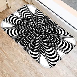 Image 2 - 40*60 センチメートル視覚誤差幾何非スリップスエードカーペットドアマットキッチンリビングルームのフロアマットホームベッドルーム装飾フロアマット。
