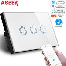 Aseer Us Standard 3 Gang Wifi Schakelaar 2.4Ghz, Gehard Kristallen Glazen Paneel, ac 110 240V, Compatibel Alexa & Google Assistent Schakelaar