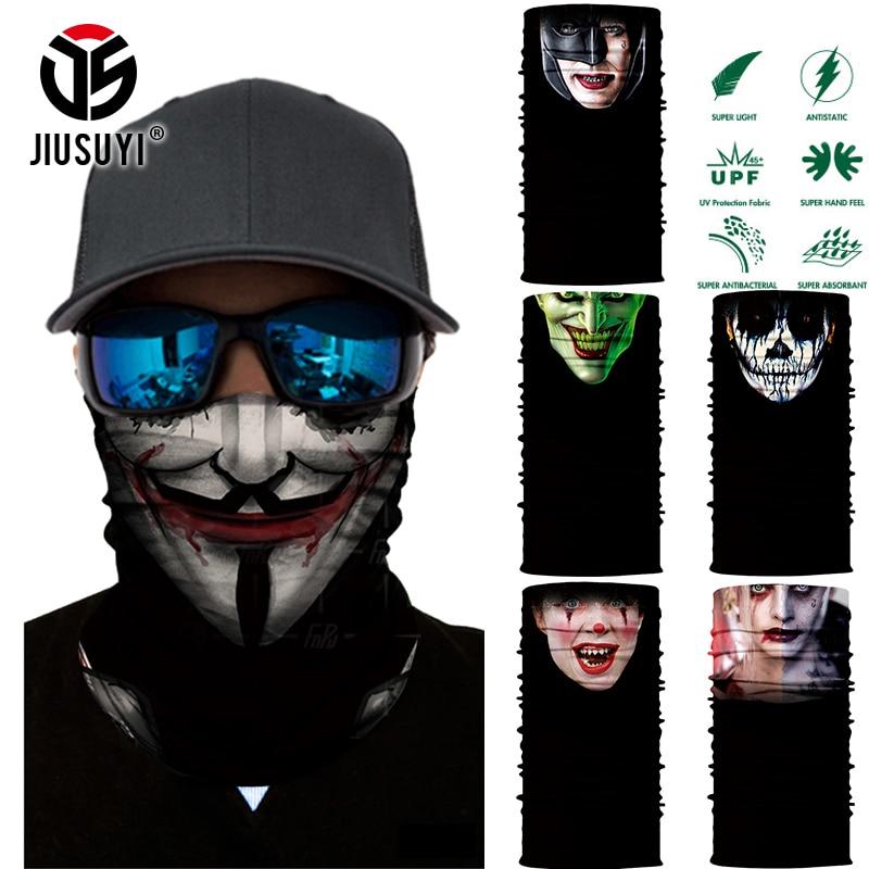 3D Seamless Magic Bandana Headband Terror Face Tube Clown Joker Skull Shield Half Face Mask Headwear Ring Head Scarf Halloween