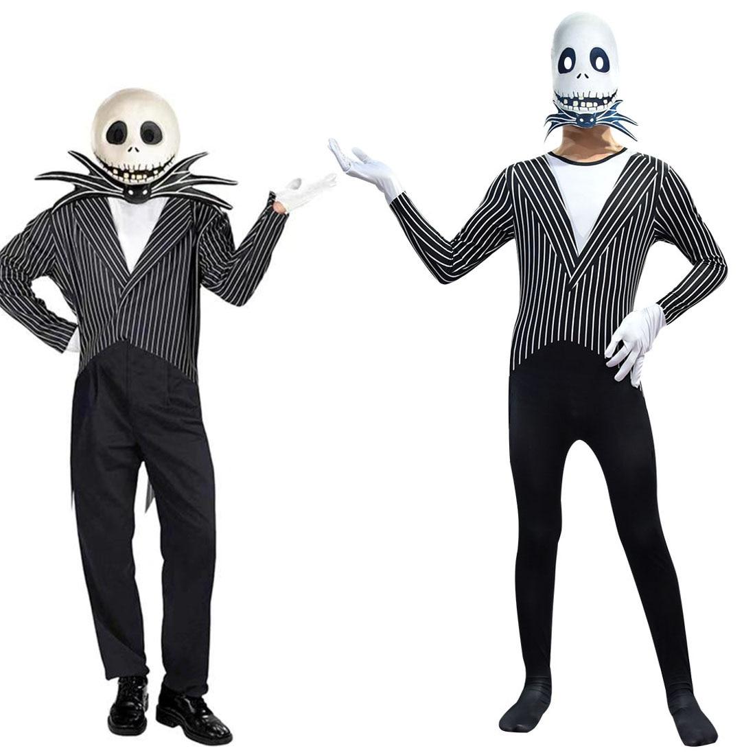 Anime Jack Skellington Kids Cosplay Costume Christmas Carnival Fancy Black Stripe Jumpsuit+Mask Children Boys Clothes C46599CH 2