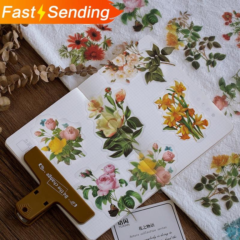 40 Sheets Vintage Green Plant Illustrations Ferns Flower Leaf Decorative DIY Sticker Scrapbooking DIY Label Diary Sticker Kawaii