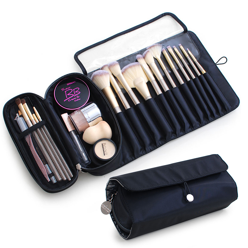 Functional Cosmetics Case Makeup Brushes Bag Travel Organizer For Make Up Brushes Protector Coffin  Makeup Tools Rolling Pouch