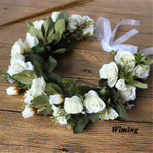 floral headband Flowers Wreath for girls women female adult props Wedding Flower rattan Bride Headband Hair Accessories цена и фото