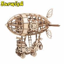 Surwish 3d деревянная головоломка airship diy Механическая Трансмиссия