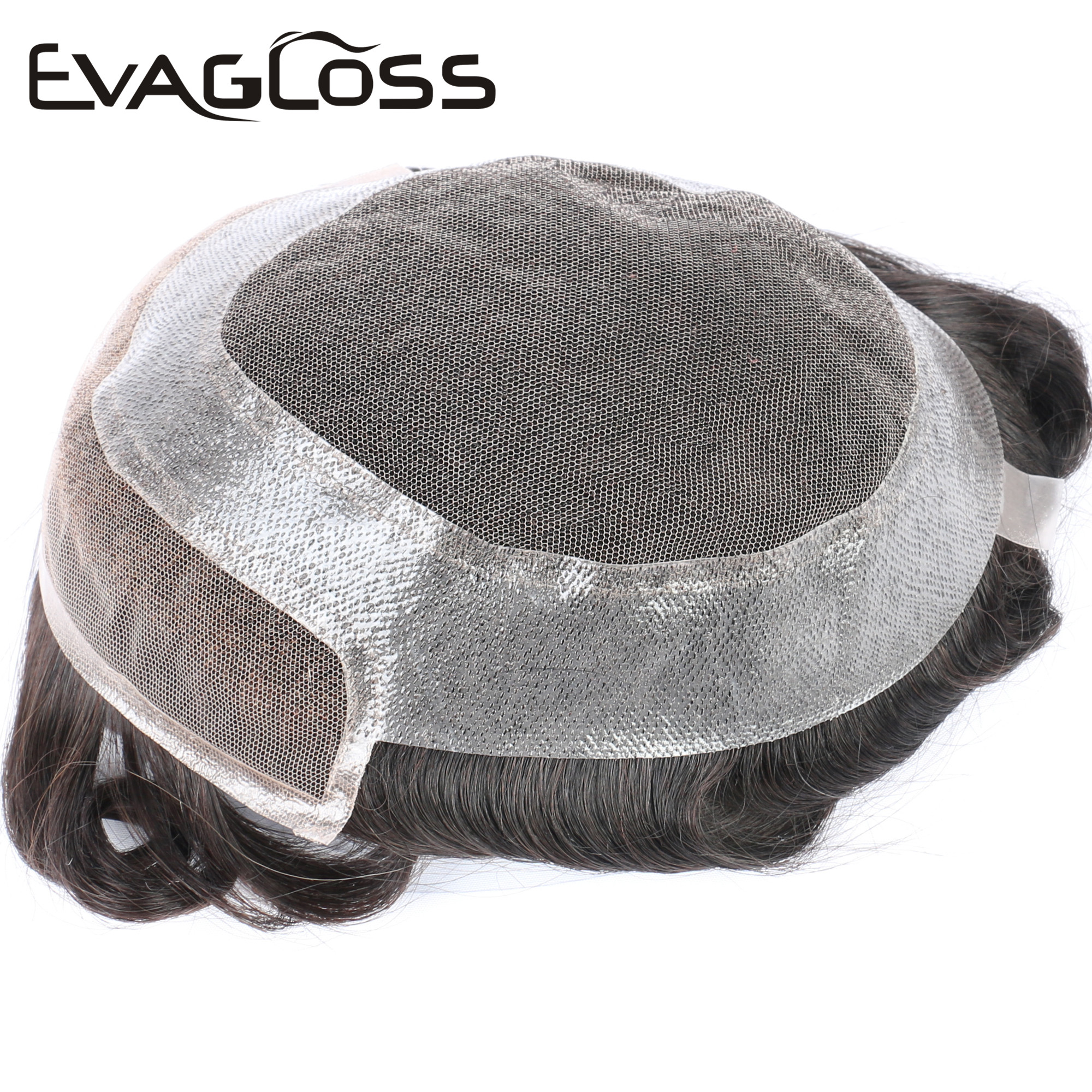 EVAGLOSS Hollywood Base Swiss Lace Front Wigs Skin Around 100% Natural Human Hair Toupee