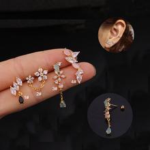 Nowe koreańskie Style kwiat przekłuwanie uszu chrząstka Helix kolczyk na chrząstkę Tiny Tragus Helix kolczyk Tragus Piercing biżuteria tanie tanio suef STAINLESS STEEL Moda Plug tunnel biżuterię Ciało biżuteria TRENDY Car180 Geometryczne Cyrkonia Piercing Body Jewelry