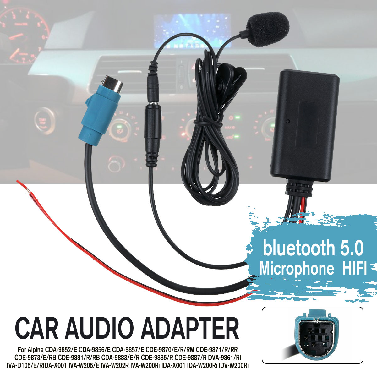 Wireless Car Audio Bluetooth Cable Adapter Microphone MIC AUX Music Player Handsfree For Alpine CD Host KCE-236B 9870/9872