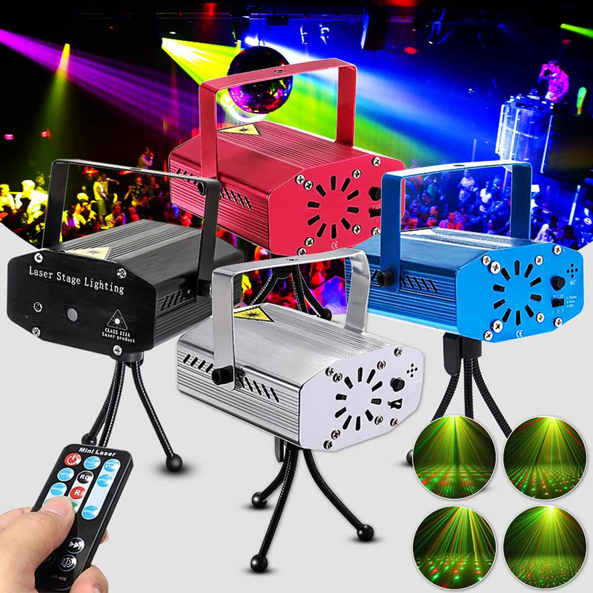 LED Lighting Stage Lights Wireless Mini Laser Projector Stage Lights Party Lighting Projector With Remote Control For DJ Disco