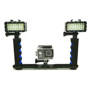 New Diving waterproof LED light handheld stents holder For GoPro Hero 5 6 7 8 Xiaomi Yi 4K Mijia sjcam SJ6 sj8/9 EKEN H9R Camera