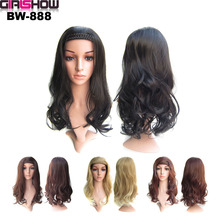 Synthetic-Wig Hairpiece Headband Braided Brown Black Natural Long Women Girlshow Wavy