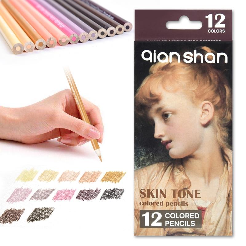 Ensemble De crayons De Dessin d'artiste professionnel, 12 couleurs, crayons De Couleur Pastel pour Portrait