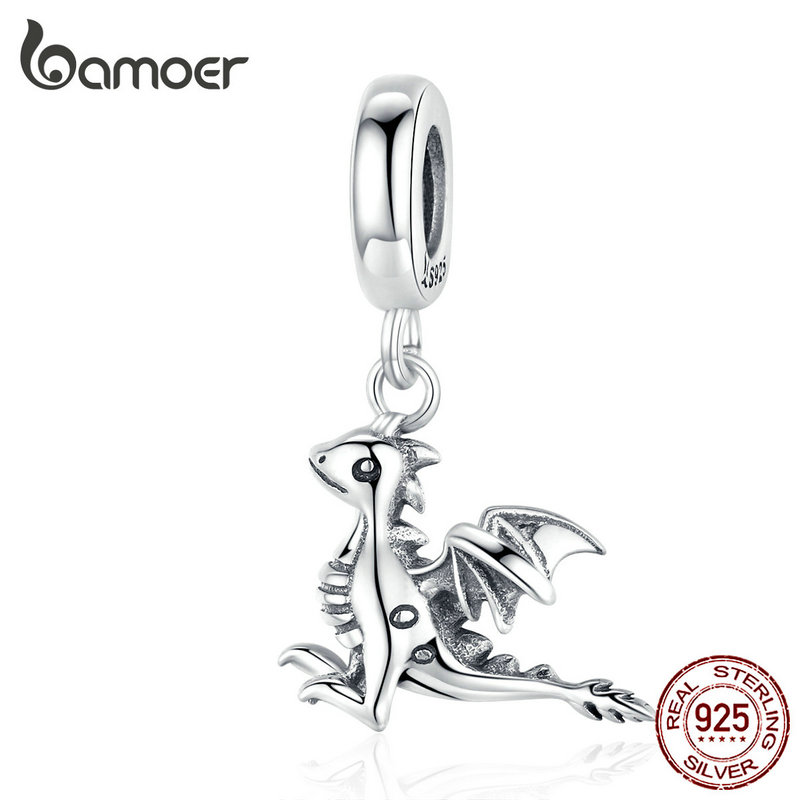 Bamoer 3D Drogon Smaug Pendant Charm Sterling Silver 925 Jewelry Original Charms Fit Bracelet Necklace European Jewelry SCC1322