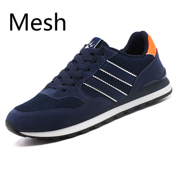 2020 artificial Leather Men Causal Shoes Male Spring Men Casual Light Shoes Sneakers Lac-up Flats Breathable Outdoors Sapato - MeshBlue, 39