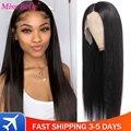 Прямой Синтетические волосы на кружеве парики из натуральных волос на кружевной прозрачный Синтетические волосы на кружеве al парик 30 дюймо...