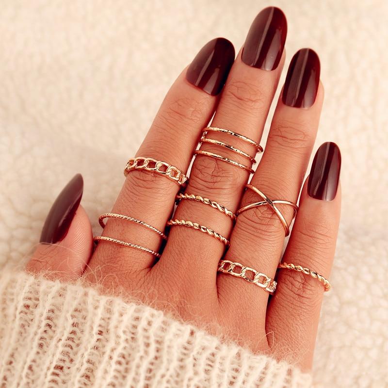 9 Design Boho Vintage Gold Star Midi Moon Rings Set For Women Opal Crystal Midi Finger Ring 2019 Female Bohemian Jewelry Gifts 5