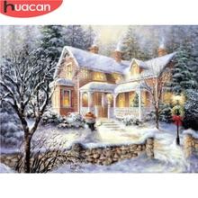 HUACAN DIY Diamond Painting Scenery Christmas Cross Stitch Kit Snow Fu
