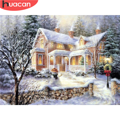 HUACAN DIY Diamond Painting Scenery Christmas Cross Stitch Kit Snow Full Square Winter Embroidery Beaded Mosaic Landscape Pakistan