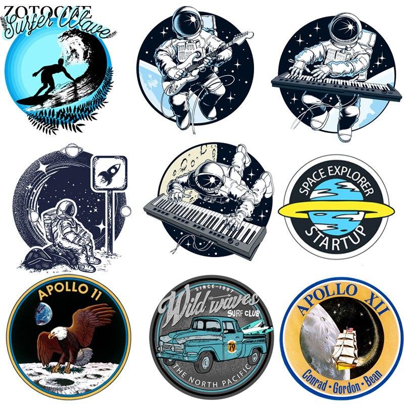 ZOTOONE Astronaut Patch Raum Planeten Auto Adler Aufkleber Eisen auf Transfers für Kleidung Zubehör Applique DIY Wärme Transfer G