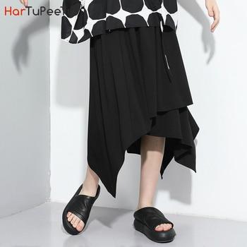 цена на Black Skirt Women Summer 2020 Plus Size Asymmetrical Hem Elastic Waist Stylish Layered Cropped Skirts 2020 New Arrival