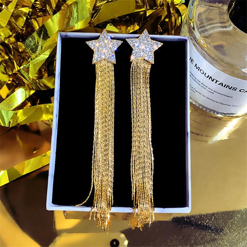 FYUAN Luxury Long Tassel Rhinestone Drop Earrings for Women Bijoux Gold Silver Color Star Crystal Dangle Earrings Jewelry Gifts