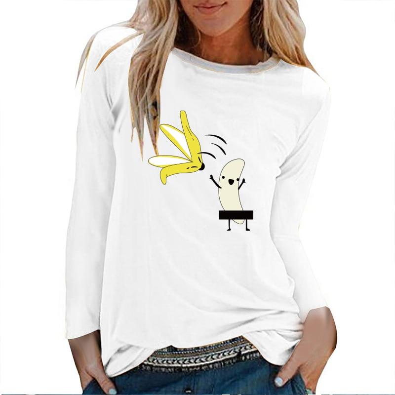 T-shirt manches longues femme, imprimé banane, Streetwear avec impression graphique
