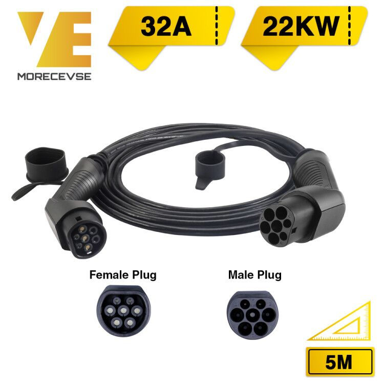 Morec EV Charging Cable 32A 22KW Three Phase Electric Vehicle Cord For Car Charger Station Type 2 Female To Male Plug IEC 62196