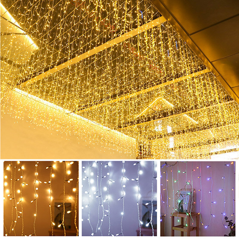 Led Ice Curtain Light Starry Waterfall Light String Christmas Wedding Party Layout Outdoor Waterproof Decoration