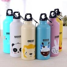 Мультяшная бутылка для воды с животными, портативная гидро-фляжка, Прекрасная спортивная походная велосипедная школьная бутылка для воды для детей, детская бутылка для воды