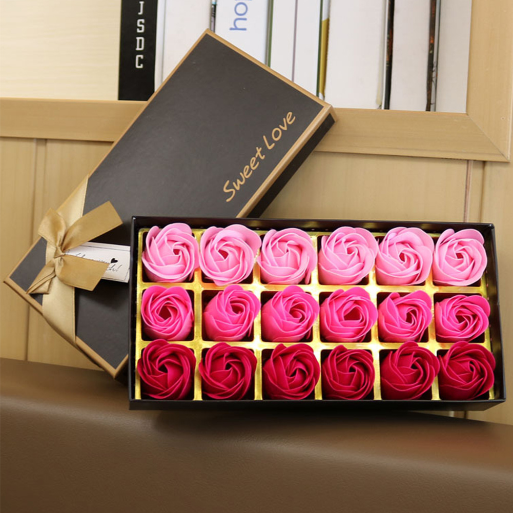 18 Pcs Set  Rose Bath Body Flower Floral Soap Scented  Rose Flower Essential Wedding Valentine'S Day Gift Party Gift